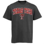 Mens Charcoal Texas Tech Red Raiders Arch Over Logo T-Shirt