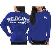 Women's Kentucky Wildcats Blue Aztec Sweeper Long Sleeve Oversized Top