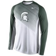 Mens Michigan State Spartans Nike White 2014-2015 Fearless Shootaround Long Sleeve Dri-Fit Shirt