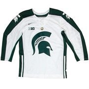 Mens Michigan State Spartans White Twill Hockey Jersey