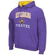 Mens East Carolina Pirates Purple Arch & Logo Mascot Pullover Hoodie