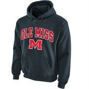 Mens Ole Miss Rebels Charcoal Midsize Arch Over Logo Hoodie