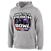 Mens Ole Miss Rebels vs. TCU Horned Frogs Gray 2014 Peach Bowl Dueling Stadium Showdown Pullover Hoodie