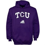 Mens Purple TCU Horned Frogs Arch Over Logo Hoodie