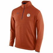 Mens Clemson Tigers Nike Orange Football Coaches Sideline Half Zip Knit Performance Jacket