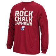 Kansas Jayhawks adidas Sideline Swagger Long Sleeve Performance T-Shirt - Crimson