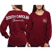 Women's South Carolina Gamecocks Red Pom Pom Jersey Oversized Long Sleeve T-Shirt
