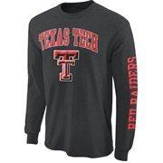 Mens Texas Tech Red Raiders Charcoal Arch & Logo Long Sleeve T-Shirt