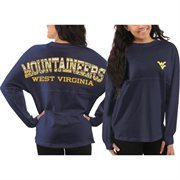Women's West Virginia Mountaineers Navy Blue Aztec Sweeper Long Sleeve Oversized Top