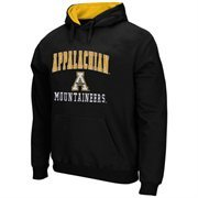 Mens Appalachian State Mountaineers Black Arch & Logo Mascot Pullover Hoodie