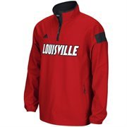 Mens Louisville Cardinals adidas Red 2014 Football Sideline Coaches Quarter-Zip Long Sleeve Woven Jacket
