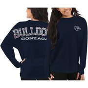 Women's Gonzaga Bulldogs Navy Blue Aztec Sweeper Long Sleeve Oversized Top