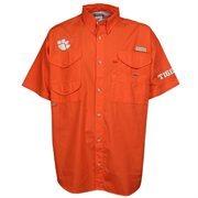 Clemson Tigers Columbia PFG Bonehead Short Sleeve Shirt - Orange