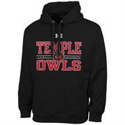 Mens Temple Owls Under Armour Black Performance Hoodie