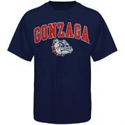 Mens Navy Blue Gonzaga Bulldogs Arch Over Logo T-Shirt