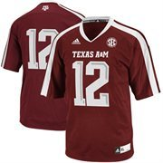 adidas Texas A&M Aggies #12 Replica Football Jersey - Maroon/White