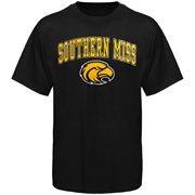 Mens Black Southern Miss Golden Eagles Arch Over Logo T-Shirt