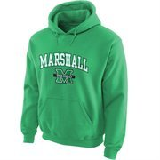 Mens Marshall Thundering Herd Green Midsize Arch Over Logo Hoodie