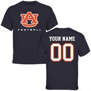 Auburn Tigers Personalized Football T-Shirt - Navy Blue