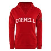 Cornell Big Red Women's Chain V-Notch Pullover Hoodie - Carnelian