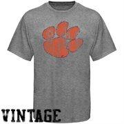 Clemson Tigers Ash Distressed Big Logo Vintage T-shirt