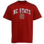 Mens Red NC State Wolfpack Arch Over Logo T-Shirt