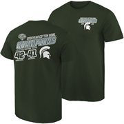Mens Michigan State Spartans Green 2015 Cotton Bowl Champions Quick Score T-Shirt