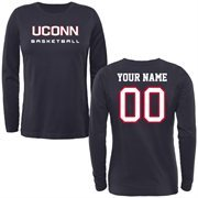 UConn Huskies Ladies Personalized Basketball Long Sleeve Classic Fit T-Shirt - Navy Blue