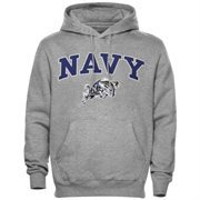 Mens Gray Navy Midshipmen Arch Over Logo Hoodie