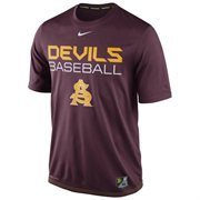 Mens Nike Maroon Arizona State Sun Devils Baseball Team Issue Legend Performance T-Shirt