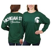 Women's Michigan State Spartans Hunter Green Pom Pom Jersey Oversized Long Sleeve T-Shirt